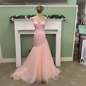 Pink Fit and Flare Wedding Gown